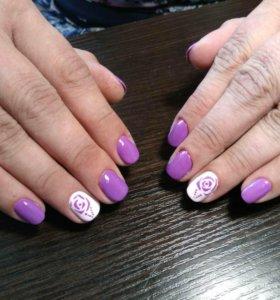 Маникюр, наращивание ногтей + покрытие гель лаком
