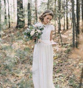 Свадебное платье романтичное бохо рустик 46-48