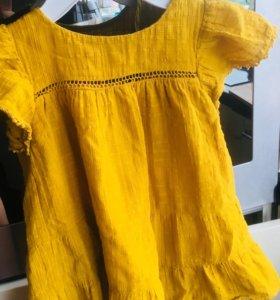 Платье zara 98р на 2 года,горчичного цвета