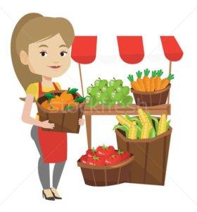 Продавец на овощи и фрукты