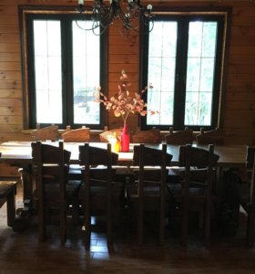 Стол и стулья массив
