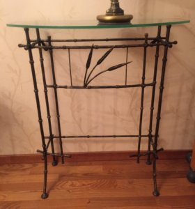 Консоль пристенная стекло кованная мебель