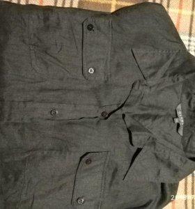 Черная льняная рубашка. 46 размер.
