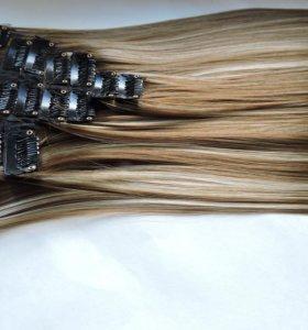 Мелированные термо волосы на заколках