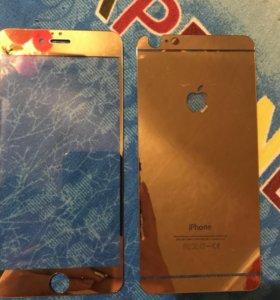Золотое защитное стекло на айфон 6+