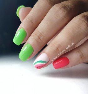 Маникюр+гель лак, педикюр, наращивание ногтей