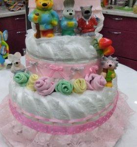 Торт из памперсов на годик, подарок на день рожден