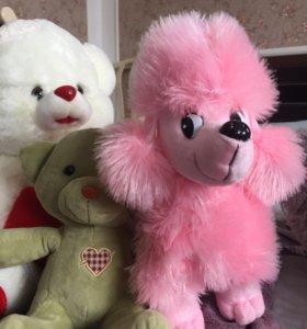Собачка розовая и зелёная мишка