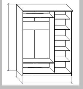 Шкаф 3-дверный с зеркалом для одежды.