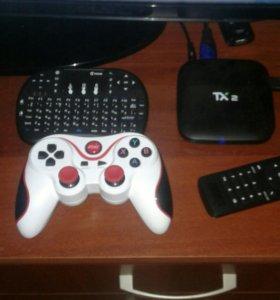 Android TV boks TX2 Bluetooth клавиатура и геймпад