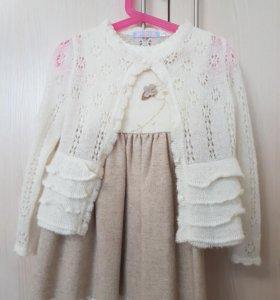 Платье шерстяное+ болеро-паутинка