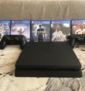 Sony playstation 4 slim 500gb, 2 джойстика + 5 игр