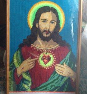 Дева Мария и Исус Христос иконы вышитые крестом
