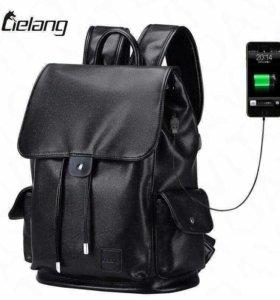 Рюкзак мужской кожаный с Usb кабелем