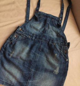 Комбинезон джинсовый ( юбка)