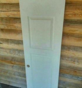 Дверь с коробом и наличниками. ДВП новая. 60 см