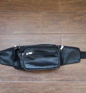 Кожаная мужская поясная сумка.