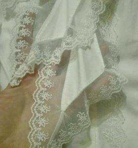 Блузка с кружевом на 5-7 лет, 116 рост.