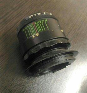 Объектив  Helios-44-2 2/58 и переходник Canon M42