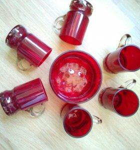 Набор кружек и ваза.Ручная работа, стекло