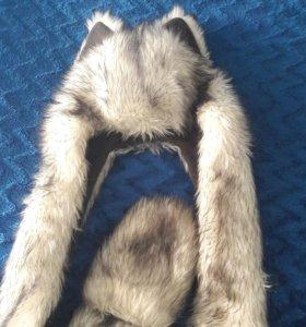 Продаю волкошапку с варежками