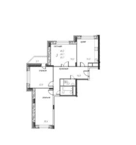 Квартира, 3 комнаты, 85.7 м²