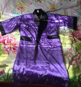 Шелковый халат новый