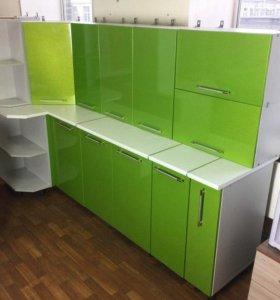 Кухня угловая зелёная ГЛЯНЕЦ ОТ ТХМ