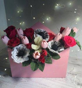 Цветы из конфет (чупа-чупс мини)