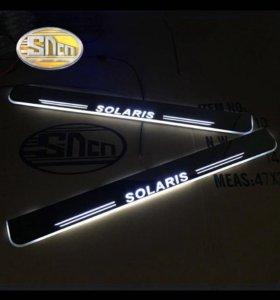 LED пороги для Hyundai Solaris