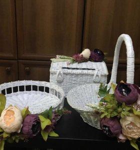 Плетёные корзины, вазы, хлебницы, шкатулки, ящики
