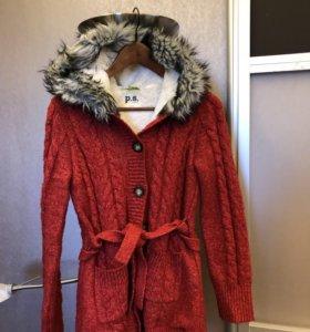 Вязаное пальто с утепленной подкладкой
