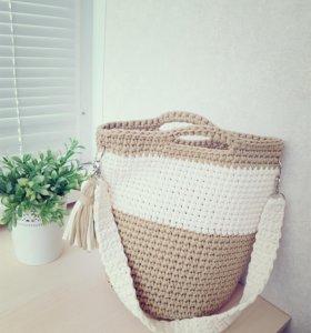 Сумочка-шоппер ручной работы из трикотажной пряжи