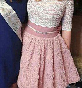 Розовое платье 44-46 размер (с балеро или без)