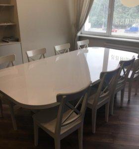Стол большой белый со стульями