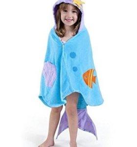 Шикарный детский махровый халат-пончо для пляжа