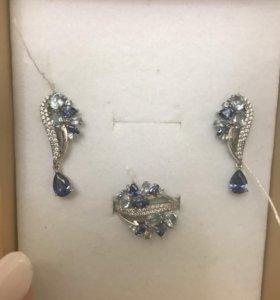 Новый комплект серебро кольцо серьги