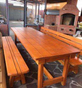 Стол и 2 скамьи для дачи или дома, из массива
