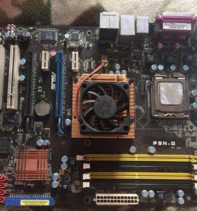 Материнская плата Asus DDR2+ оперативка на 1гб