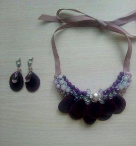 Набор, ожерелье из натуральных камней и серьги
