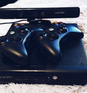 Xbox 360 (500GB) + 2 контроллера + kinect + игры