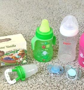 Бутылочка, поильник, пустышка, ниблер, каша (пакет