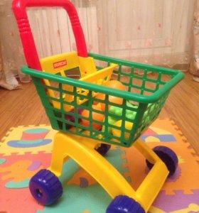Тележка игрушечная с фруктами
