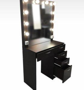 Стол гримёрный с подсветкой и зеркалом В-2