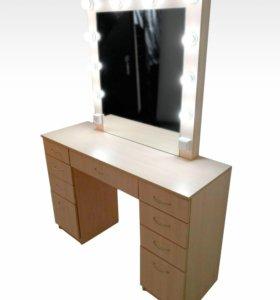 Стол гримёрный с подсветкой и зеркалом БД-3
