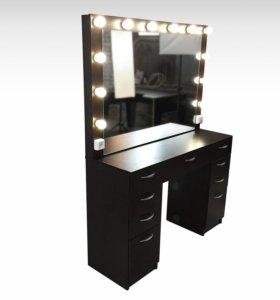 Стол гримёрный с подсветкой и зеркалом В-4