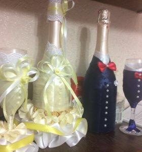 Оформление фужеров и бутылок с шампанским