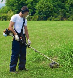 Покос травы бензокосой
