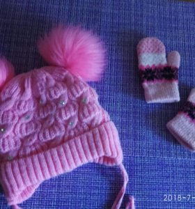 Зимняя шапочка и варежки
