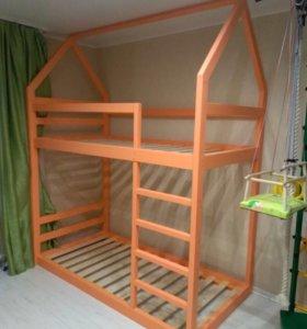 Двухэтажная кроватка домик 180*80